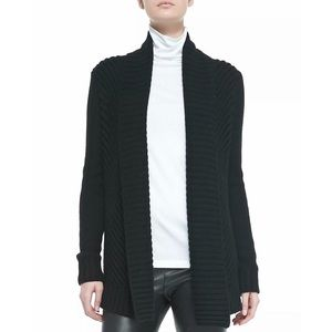 Vince Ribbed Open Front Shawl Cardigan In Black